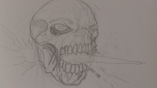Now define the whole Zombie face drawing by darkening the pencil lines
