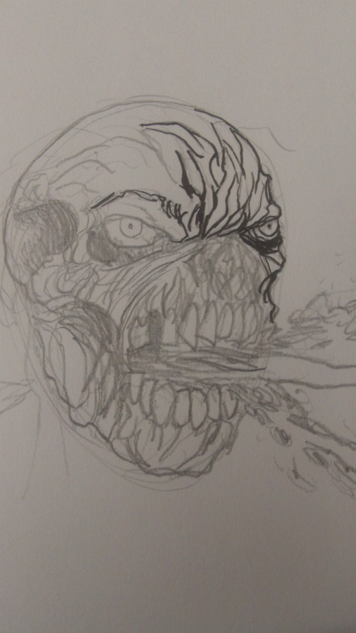 Start to ink over the pencil lines of your zombie face