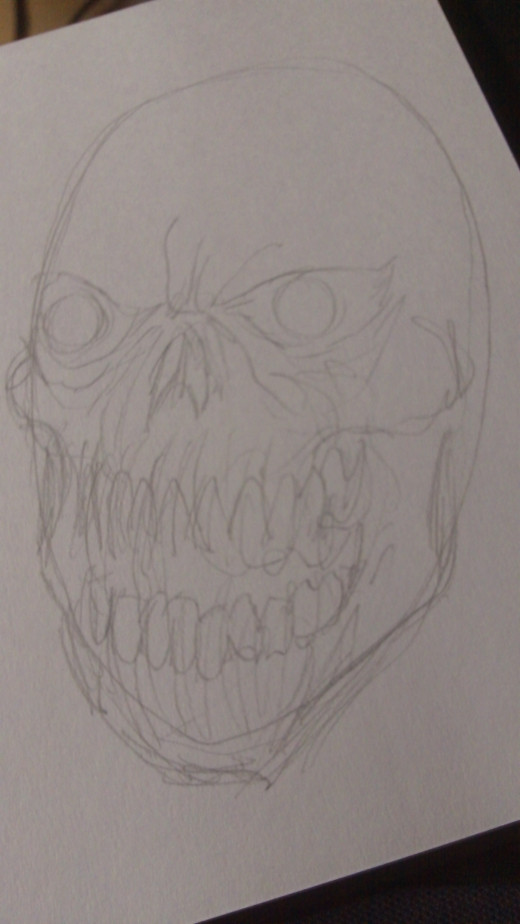 Sketch more of the outlines and details of the Zombie Skull