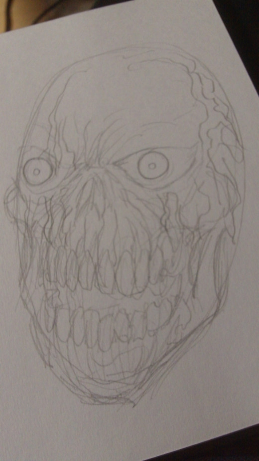 Roughly sketch in some more details on the Zombie Skull