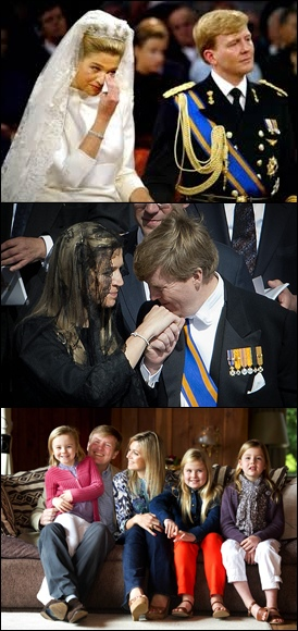 upper -Dutch royal wedding; middle- the royal couple during Pope Francis' inauguration in Vatican; bottom - royal family