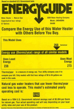 Look carefully at the Energy Guide label to see how much electricity an appliance uses.  Although this label shows energy for water heaters, you'll see a similar one on many washing machines and can use it to compare.