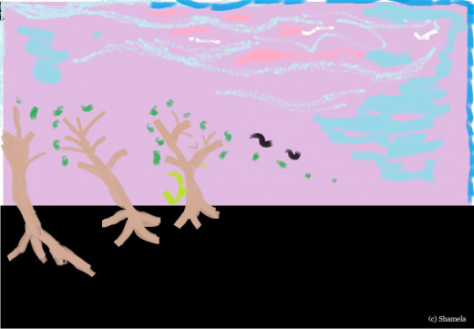My drawing of trees with fragrance.