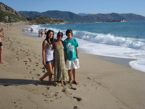 Me, My Daughter & Son in Corsica, Leamone Beach, France