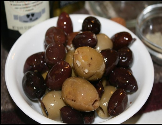 A mixture of antipasti olives as served at table.