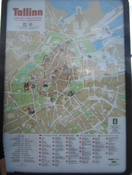 Local map of Old Town in Tallinn, Estonia.