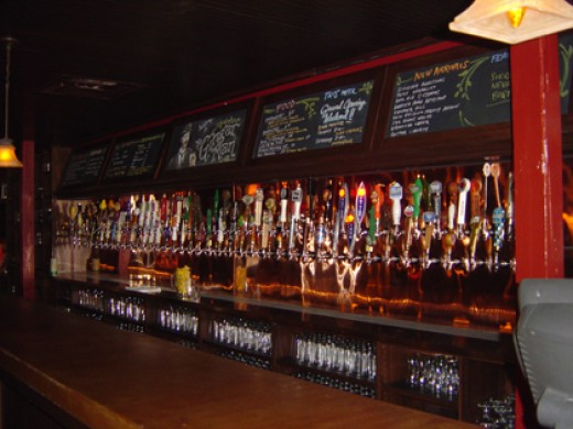 Inside the Ginger Man....what a list of brews on tap!