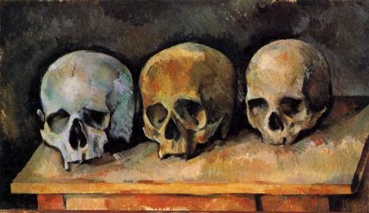 Paul Cézanne - Stilleben, Drei Totenschädel (1900)