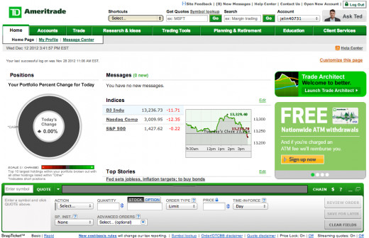 A sample page from TD Ameritrade