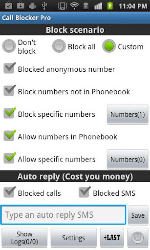 Ultimate Call and SMS Blocker Smart Phone App