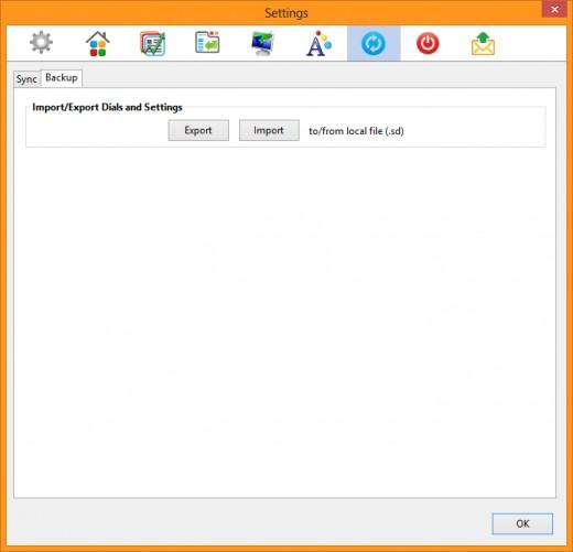 Settings --  Sync --  Backup tab