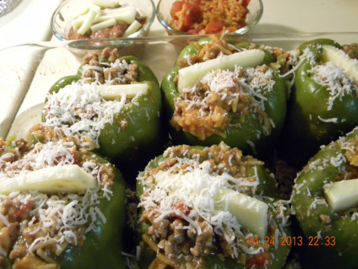 Stuffed Peppers - Just before baking.