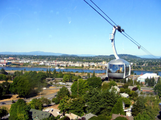 OHSU Aerial Tram and Willamette River in background.
