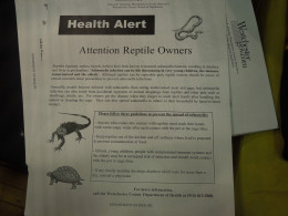 Important information on Salmonella distributed at the show.