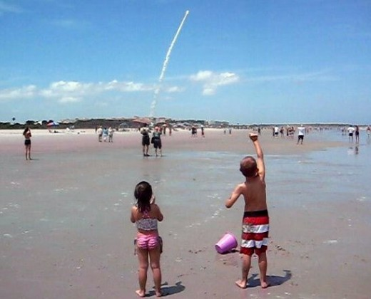 Watching the space shuttle launch at Cape Canaveral