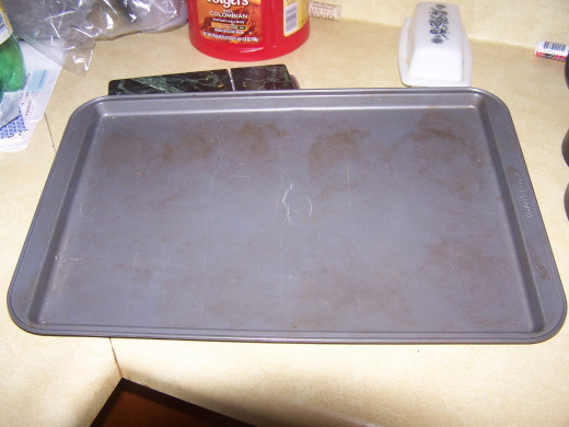 "This is the ""cookie""  sheet I use to bake the eggplant and bread crumbs the first 5 minutes."