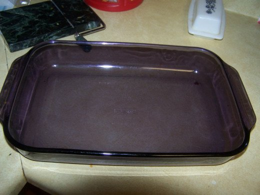 Our 9 inch by 13 inch baking dish.
