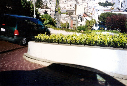 Riding down Lombard Street in the car.