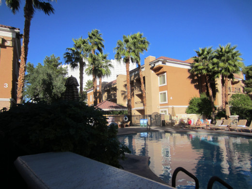 Relaxing by the swimming pool at Las Vegas' Desert Rose Resort