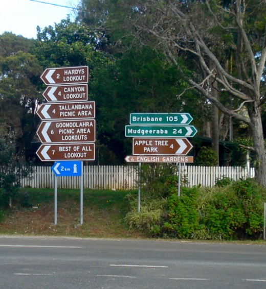 Signpost in the Centre of Springbrook.