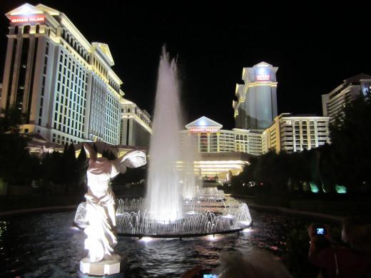 Caesar's Palace on Las Vegas Strip at night.