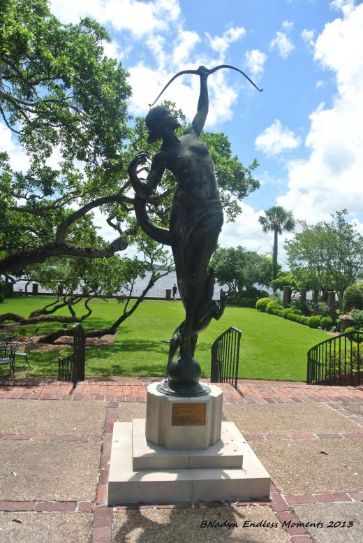 Artist Anna Hyatt Huntington placed this sculpture in the gardens in 1960.