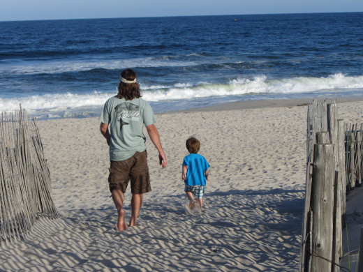 Dad & son heading for the water!