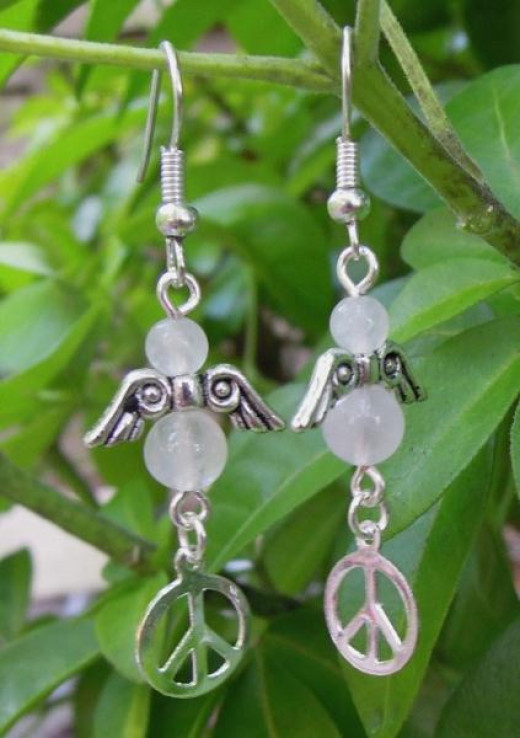 Semi-precious stones can be used to create beautiful jewellery such as these rose quartz angel earrings.