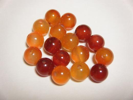 Carnelian semi-precious stone beads.