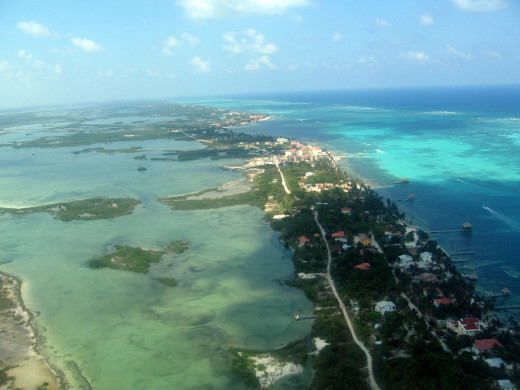 Bird's Eye view of Ambergris Caye - San Pedro and adjacent lagoon