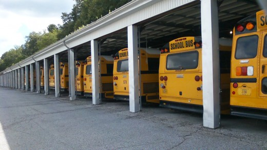MSD Washington Township buses parked in their appropriate stalls and ready for the first day of pickup come August 5, 2013
