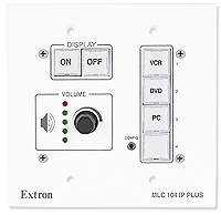 This fixed button system from Extron provides similar room control as touch screens do, but at a lower cost.