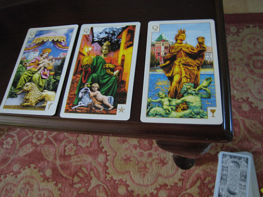 "The first card stands for the ""Situation"", second is for ""Obstacle"" and the third one is for the ""Solution"""