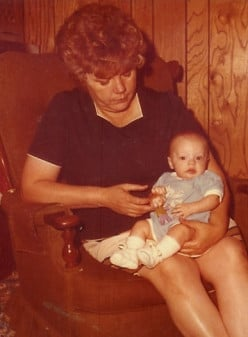 Mom and one of her grandchildren (Personal photo).