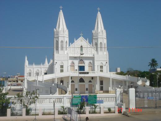 The Basilica of Our Lady of Good Health, Velankanni, Tamil Nadu.