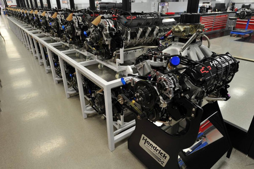 A row of engines await delivery to customers both inside and outside the Hendrick Motorsports organization