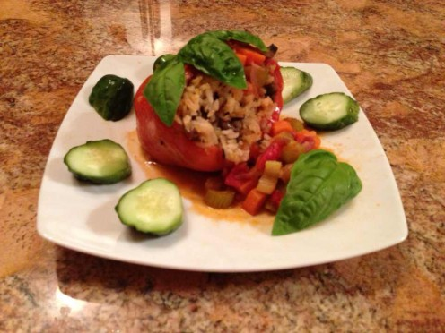 Sweet Bell Peppers stuffed with basmati rice and crimini mushrooms