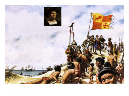 Columbus Arriving in San Salvador (aka Watling Island) in the Bahamas