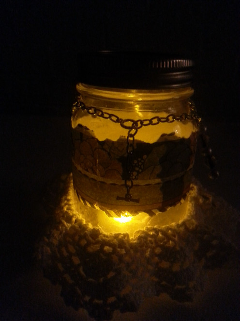 Chained Down Mason Jar, illuminated