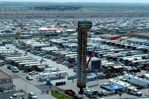A shot of the infield at Texas Motor Speedway. Motorhomes virtually own the parking lot area