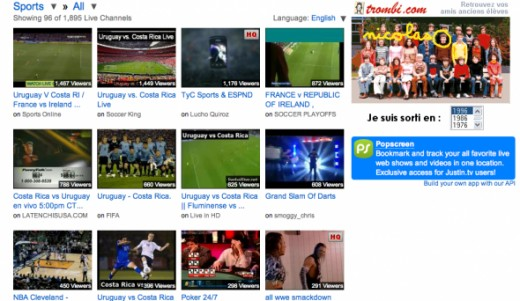 A quick screen shot of some of the sports programs available right now to stream online
