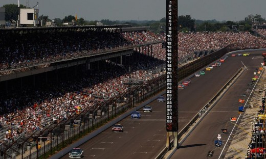 An all-too-common sight for NASCAR at Indy; a single file parade. If you've seen it once...