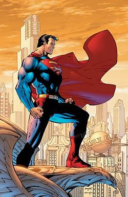 Superman overlooking the city he protects, Metropolis.
