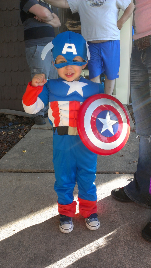 This little guy had a super hero themed birthday party. All of his little friends dressed as their favorite super hero.