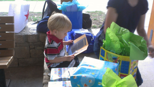 The little man and his family opted to have his birthday party at a nearby park.