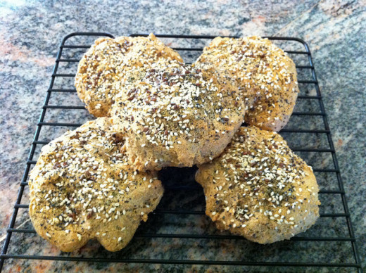 "Paleo ""bagels"" made without flour or grains."