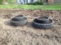 Finished double tier used tire planters ready for planting!