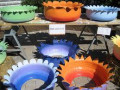 Creative used tire pots
