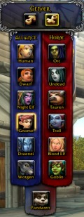 Races available in World of Warcraft