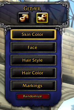 The extent of your choices in WoW character customizaiton.